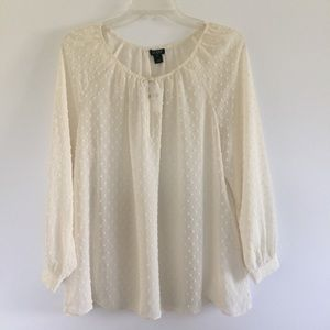 J.Crew Factory Ivory Dotted Peasant Keyhole Blouse